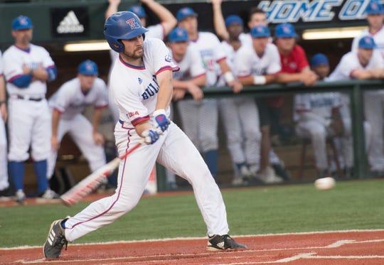 Louisiana Tech junior second baseman Hunter Wells (9) swings at a pitch against Little Rock Tuesday, April 23, 2019 at J.C. Love Field.