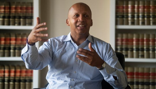 Bryan Stevenson, founder and Executive Director of the Equal Justice Initiative, talks at his offices in Montgomery, Ala., on Wednesday April 24, 2019.