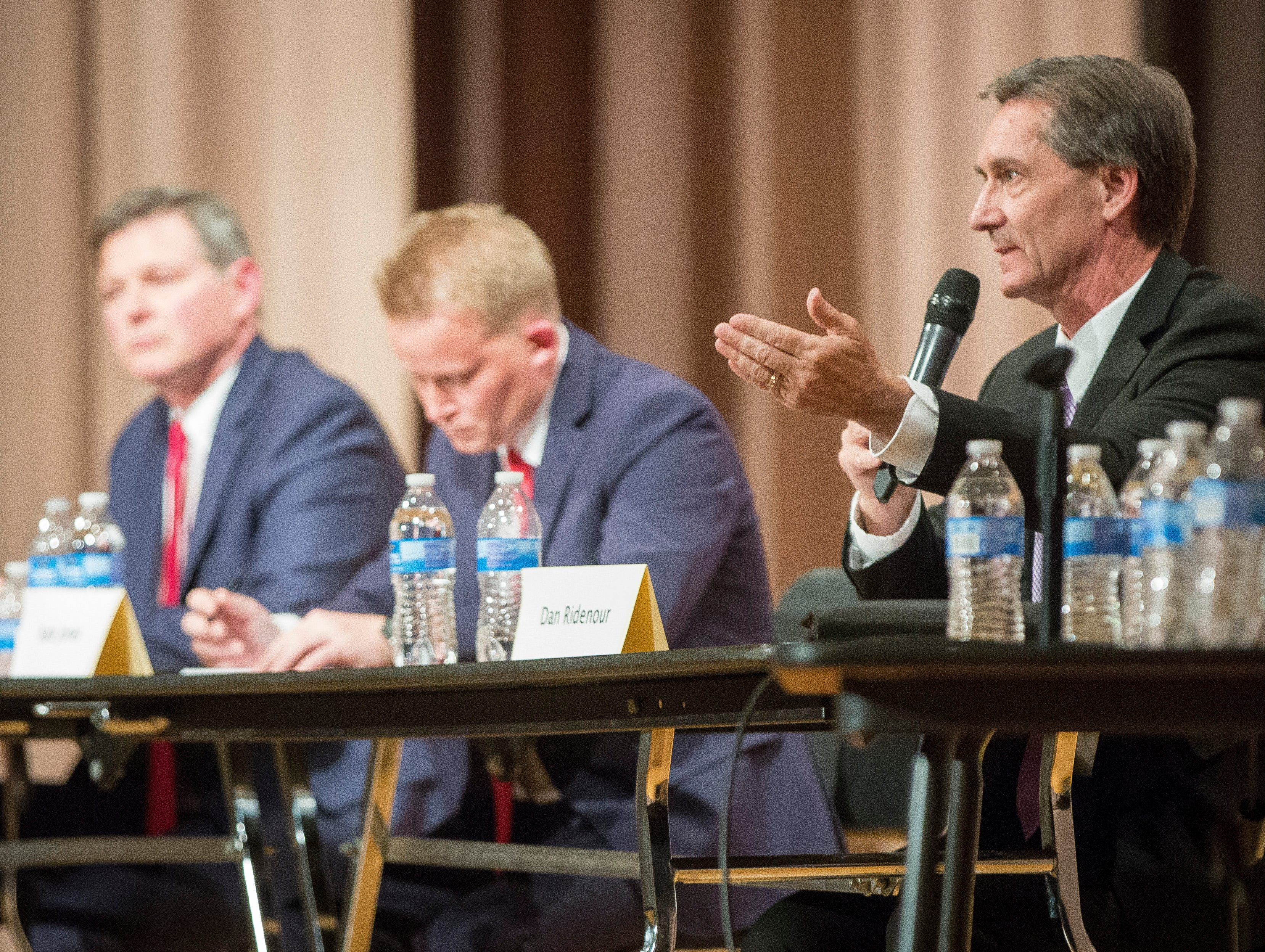Dan Ridenour answers a question from the moderators during the Republican mayoral debate on April 23 at Northside Middle School. The primary is on May 7.