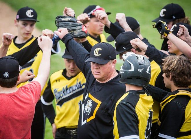 FILE -- Cowan's baseball team huddles during a game against Wapahani at Cowan High School on Wednesday, April 24, 2019.