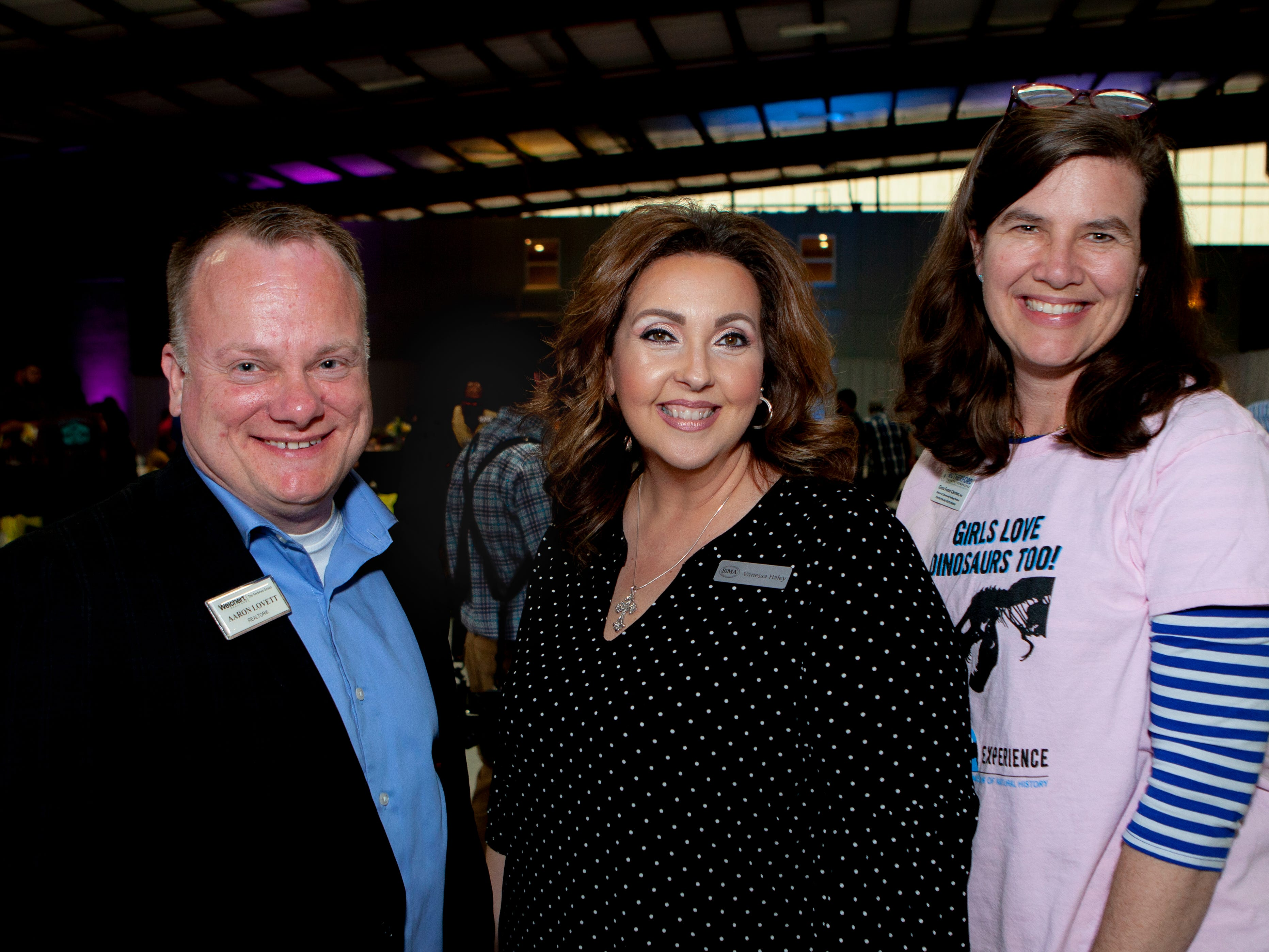 Aaron Lovett, Vanessa Haley and Gina Foster Cannon at the Light Up Local Firefly Awards, hosted by Locally Owned Murfreesboro and Smyrna Independent Merchants Association. Awards were presented Tuesday, April 23, 2019 at Hollingshead Aviation at Smyrna Airport.