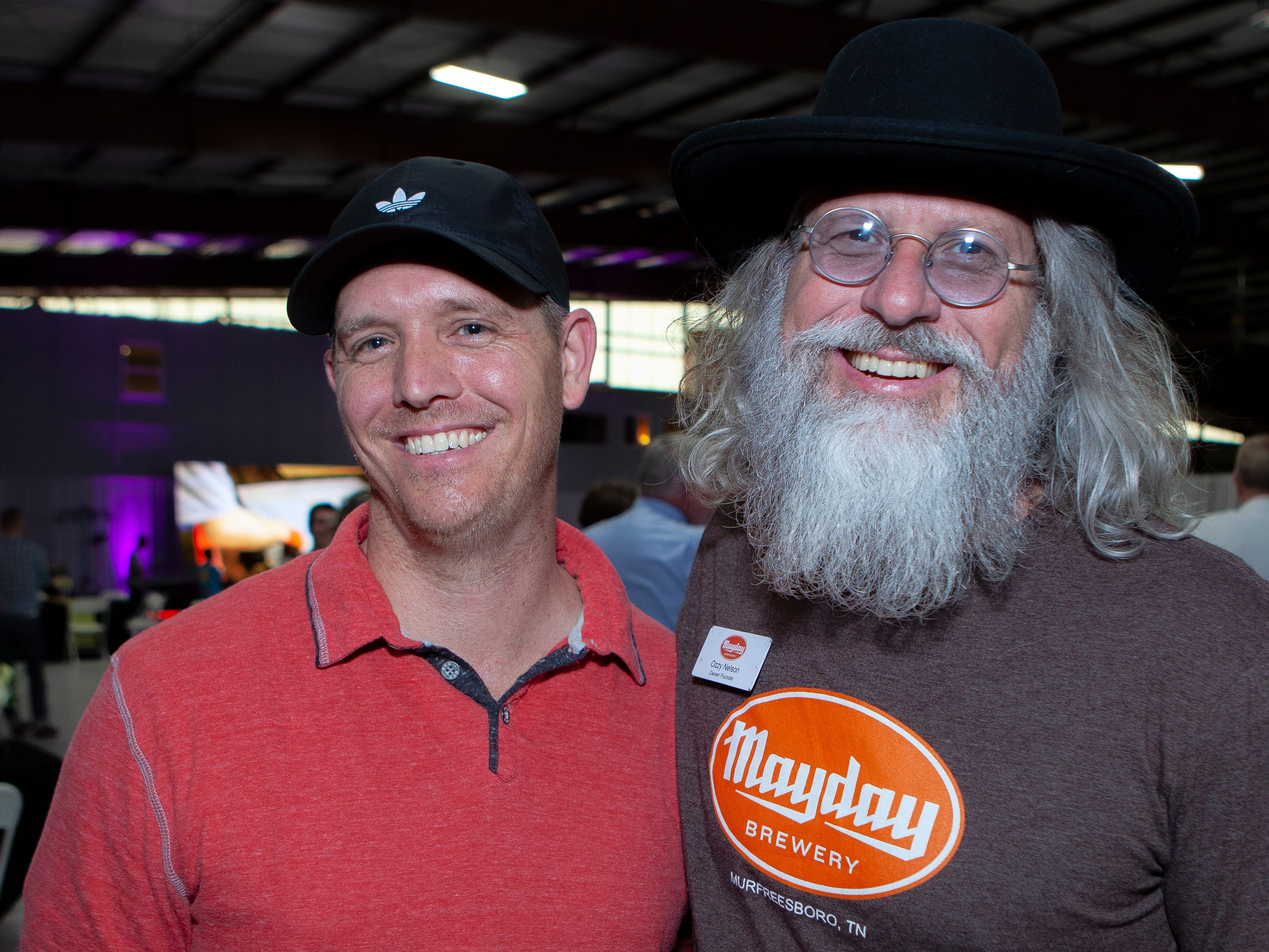 "Stuart ""DJ Big Bad Boogi"" Hamilton and Ozzy Nelson at the Light Up Local Firefly Awards, hosted by Locally Owned Murfreesboro and Smyrna Independent Merchants Association. Awards were presented Tuesday, April 23, 2019 at Hollingshead Aviation at Smyrna Airport."