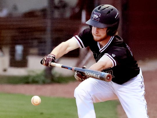 Eagleville's Blake Brewer (17) bunts the ball during the game against Cornersville on Tuesday April 23, 2019, at Eagleville.