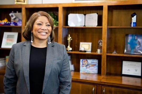 Metro Nashville Public Schools interim superintendent Adrienne Battle poses for a photo at the Metro Nashville Public Schools office Wednesday, April 24, 2019, in Nashville, Tenn.