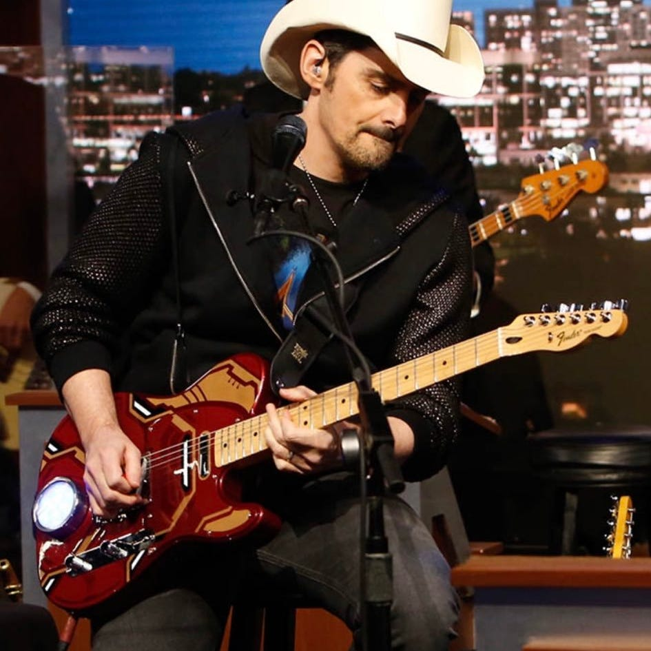 'Avengers: Endgame': Brad Paisley gifts Robert Downey Jr. a custom Iron Man guitar