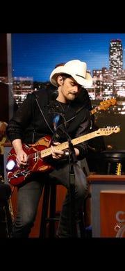"on ""Jimmy Kimmel Live!,"" Brad Paisley plays a Fender Telecaster modeled after Marvel superhero Iron Man."