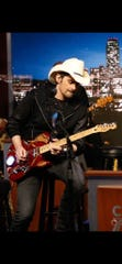 "on ""Jimmy Kimmel Live!,"" Brad Paisley plays a Fender Telecaster modeled after Marvel superhero Iron Man."