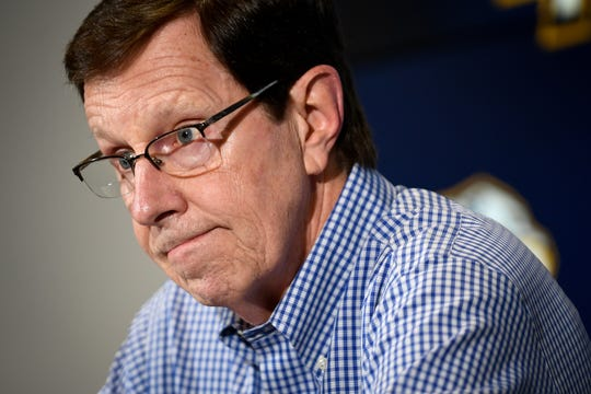 """Predators general manager David Poile speaks during a press conference Wednesday at Bridgestone Arena. """"I believed we had good reason to give this group another opportunity,"""" Poile said. """"However our first-roundloss shows we have some areas we need to address."""""""