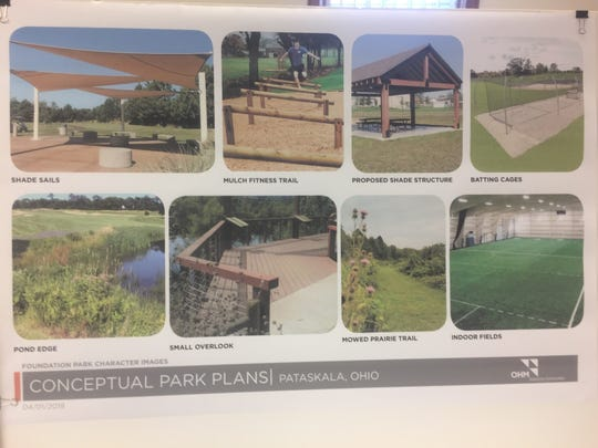 Some conceptual images for possible improvements to Foundation Park in Pataskala.