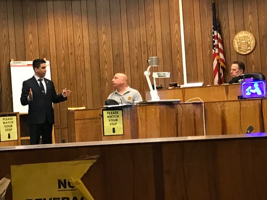 Assistant Prosecutor Jonathan Barrera questioning Paterson Detective Michael Cossari on Wednesday, April 24, 2019.
