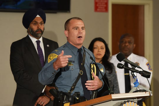 Chief of Detectives, Robert Anzilotti speaks to the press about the arrests of 16 alleged child predators during a press conference at Bergen County Prosecutor's Office in Hackensack on 04/24/19.