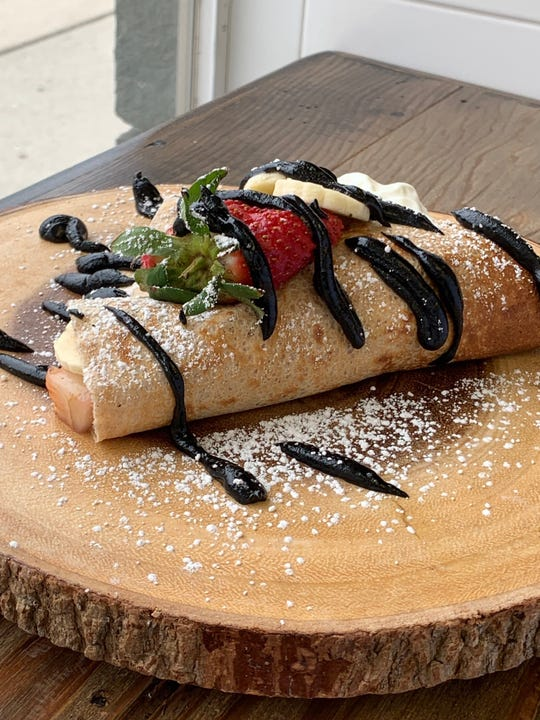 Desserts, like this fresh fruit crepe, are served at Planted Eats.