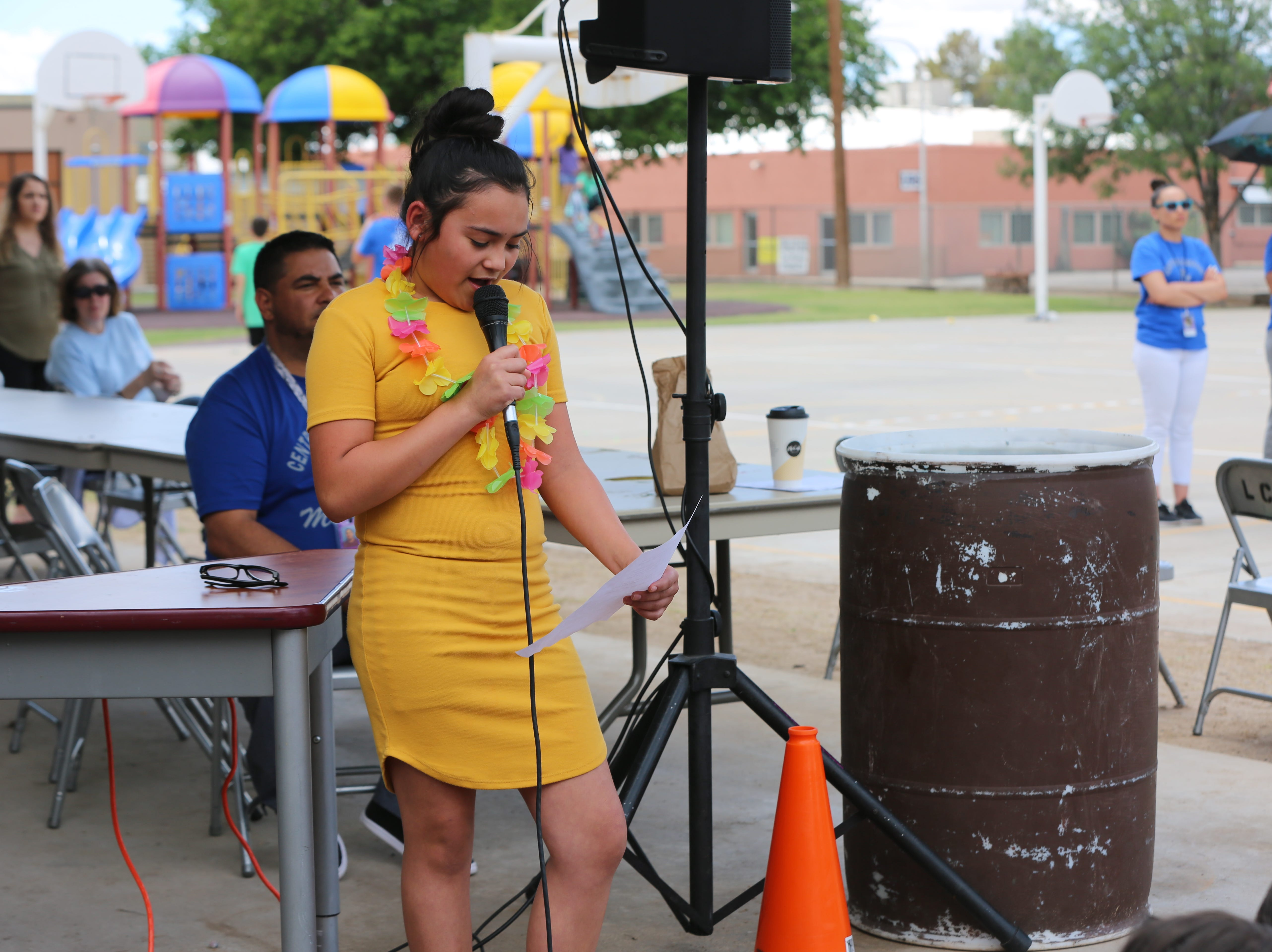 Ebeney Villa, 11, a fifth-grader at Central Elementary School, is the school's student council president. Villa read a speech to her student body regarding the school's 70th anniversary Wednesday, April 24.