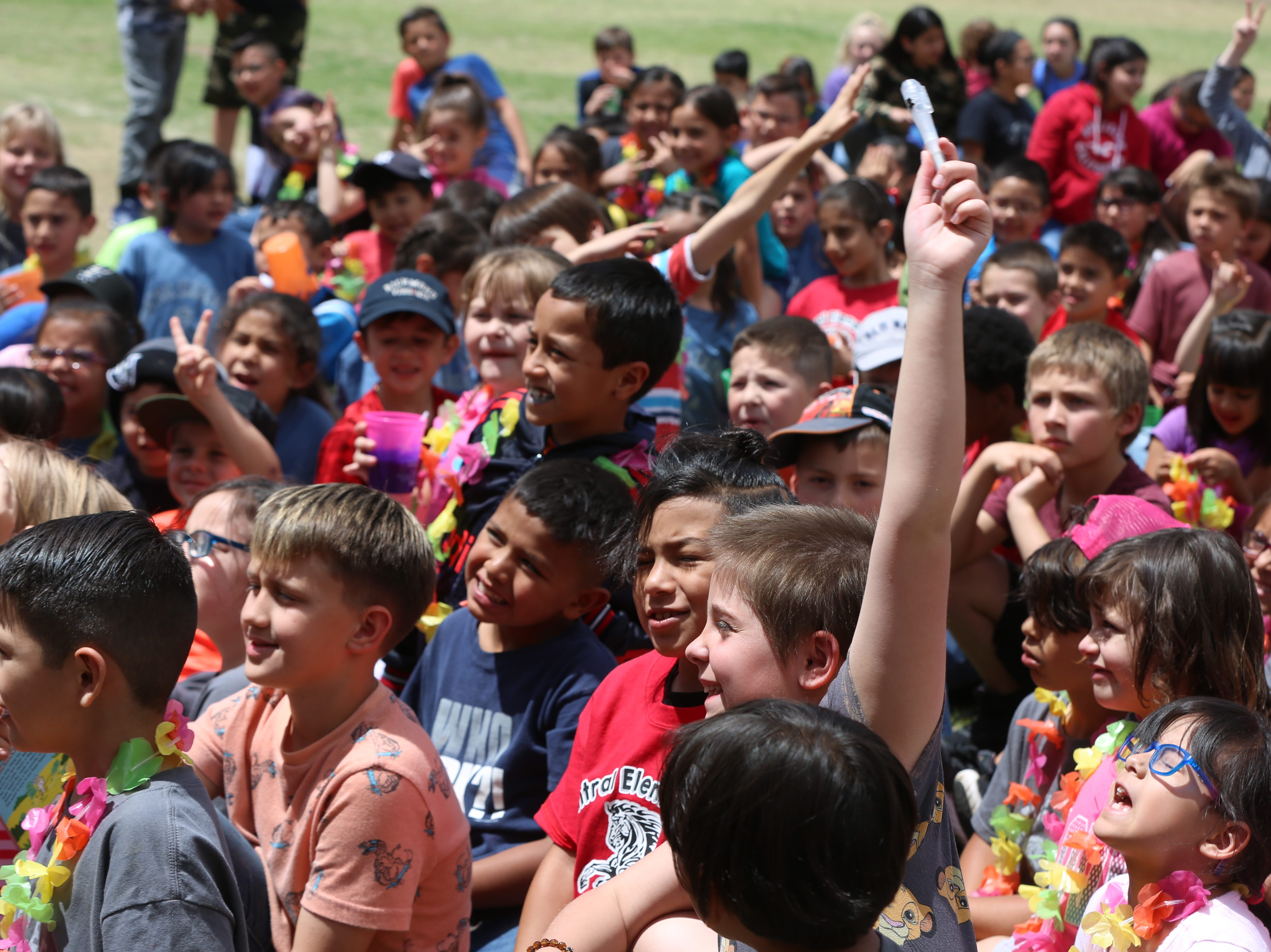 Students at Central Elementary School celebrate the school's 70th anniversary Wednesday, April 24.