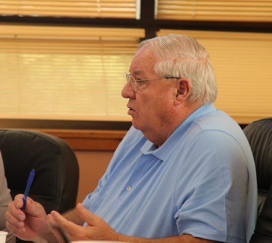 District 3 Eddy County Board of Commissioner Larry Wood talks about funding for the Village of Hope during an April 24 budget workshop.