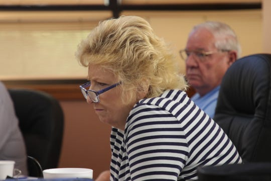 Eddy County Clerk Robin Van Natta listens to a budget discussion during an April 24 Eddy County Board of Commissioners workshop.