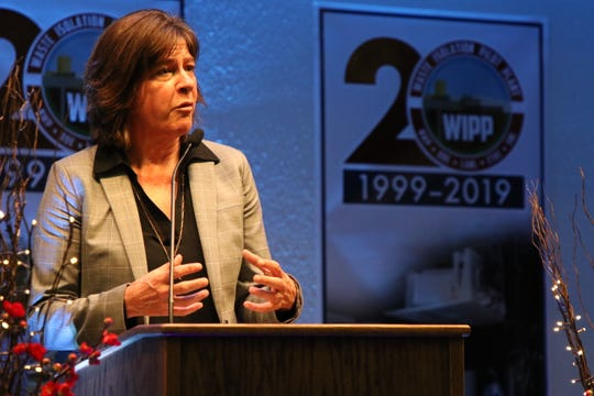 U.S. Department of Energy Assistant Secretary for Environmental Management Anne White discusses the Waste Isolation Pilot Plant during a dinner, April 23, 2019 at the Pecos River Village Conference Center.