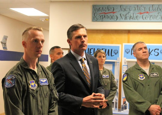 U.S. Sen. Martin Heinrich, Cmdr Col. Joseph Campo and Capt. Brandon at a briefing April 24, 2019, at the 6th Attack Squadron MQ-9 Reaper Remotely Piloted Aircraft Formal Training Unit at Holloman Air Force Base.