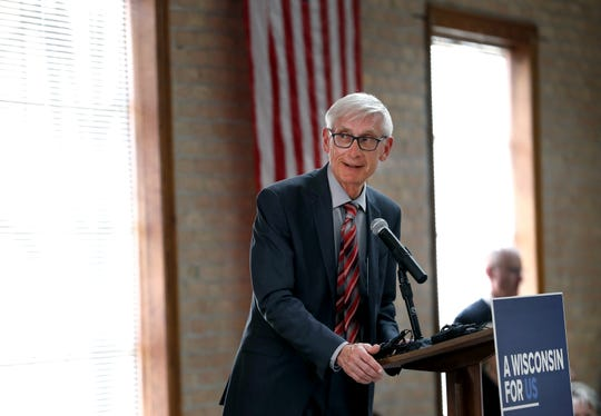 Gov. Tony Evers speaks to the crowd before opening the floor for discussion during his stop at the Oshkosh Senior Center for The People's Budget Listening Session Tour with Lt. Gov. Mandela Barnes Tuesday, April 23, 2019, in Oshkosh, Wis.  Danny Damiani/USA TODAY NETWORK-Wisconsin