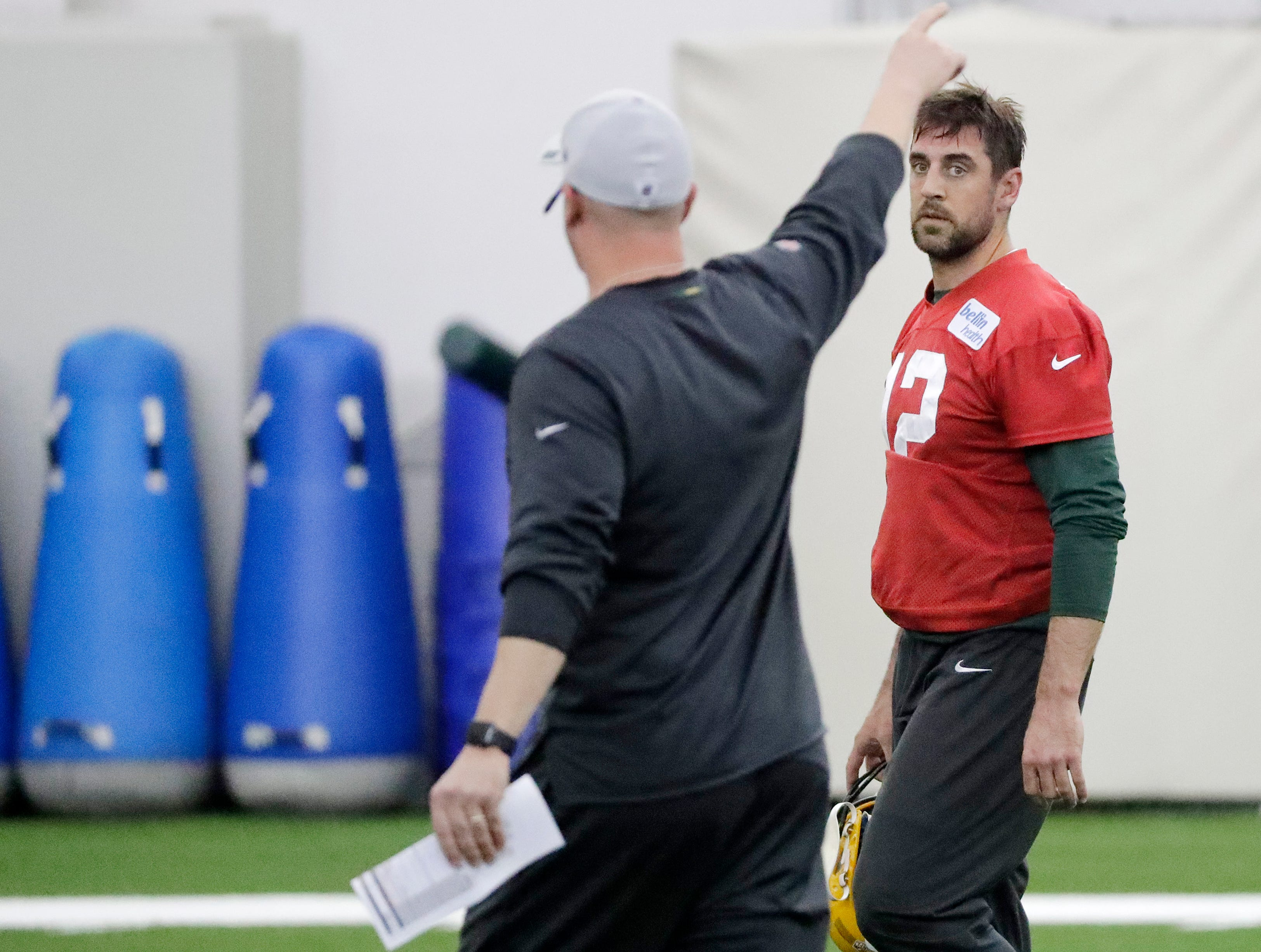 Green Bay Packers quarterback Aaron Rodgers (12) during a team practice at the Don Hutson Center on Wednesday, April 24, 2019 in Ashwaubenon, Wis.