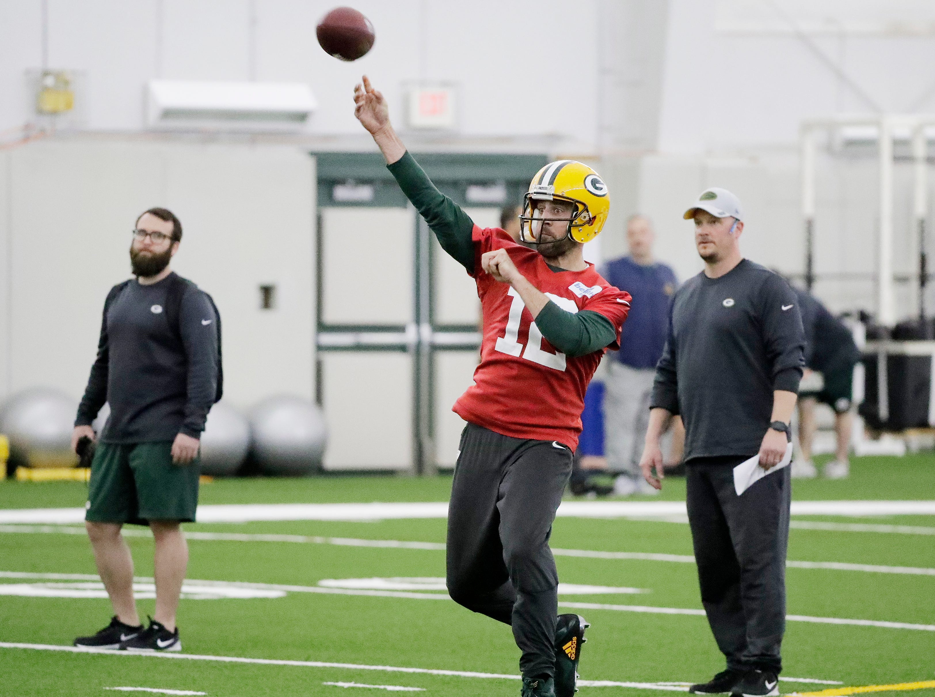 Green Bay Packers quarterback Aaron Rodgers (12) throws during a team practice at the Don Hutson Center on Wednesday, April 24, 2019 in Ashwaubenon, Wis.