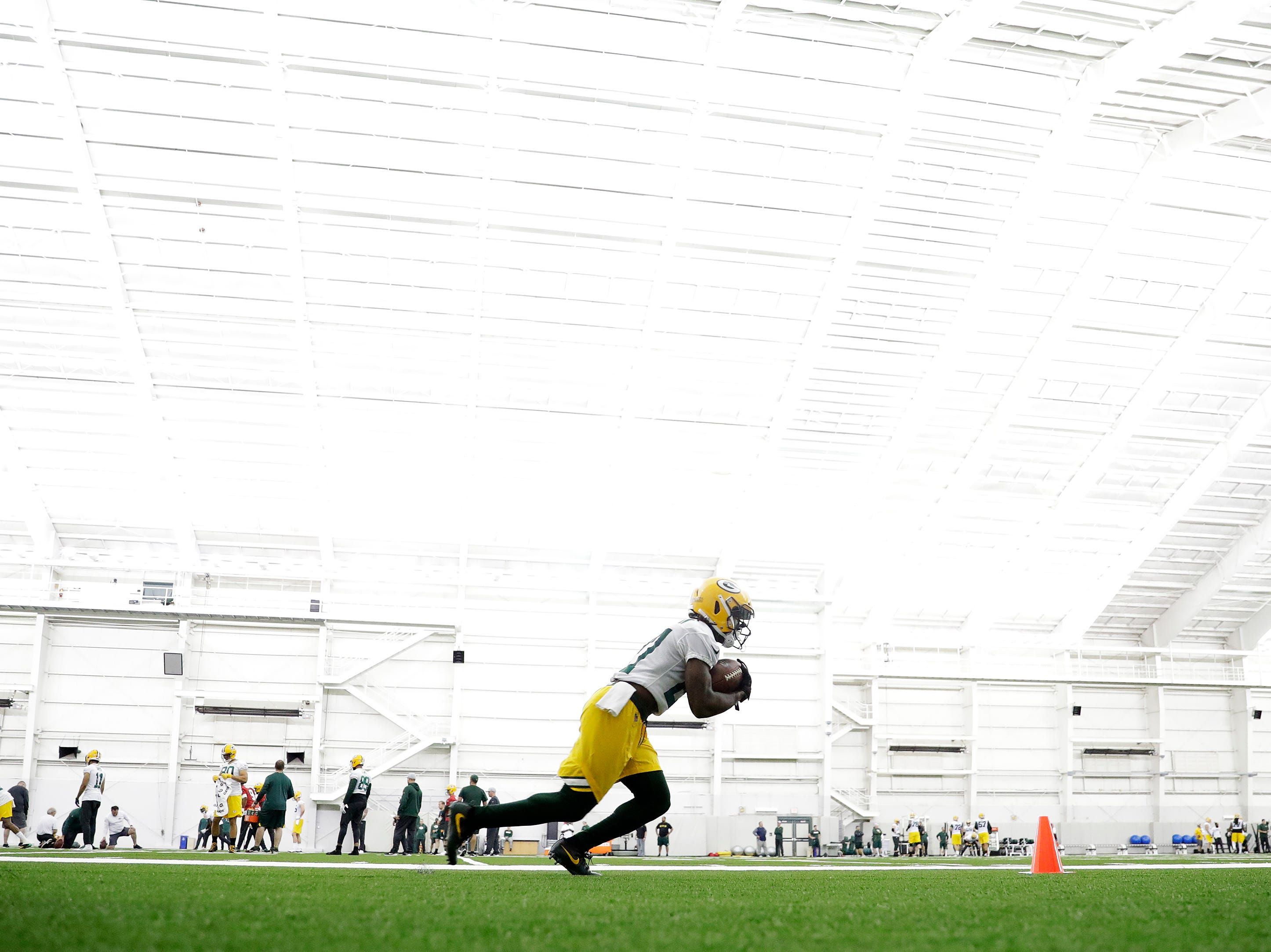 Green Bay Packers running back Lavon Coleman (27) during a team practice at the Don Hutson Center on Wednesday, April 24, 2019 in Ashwaubenon, Wis.