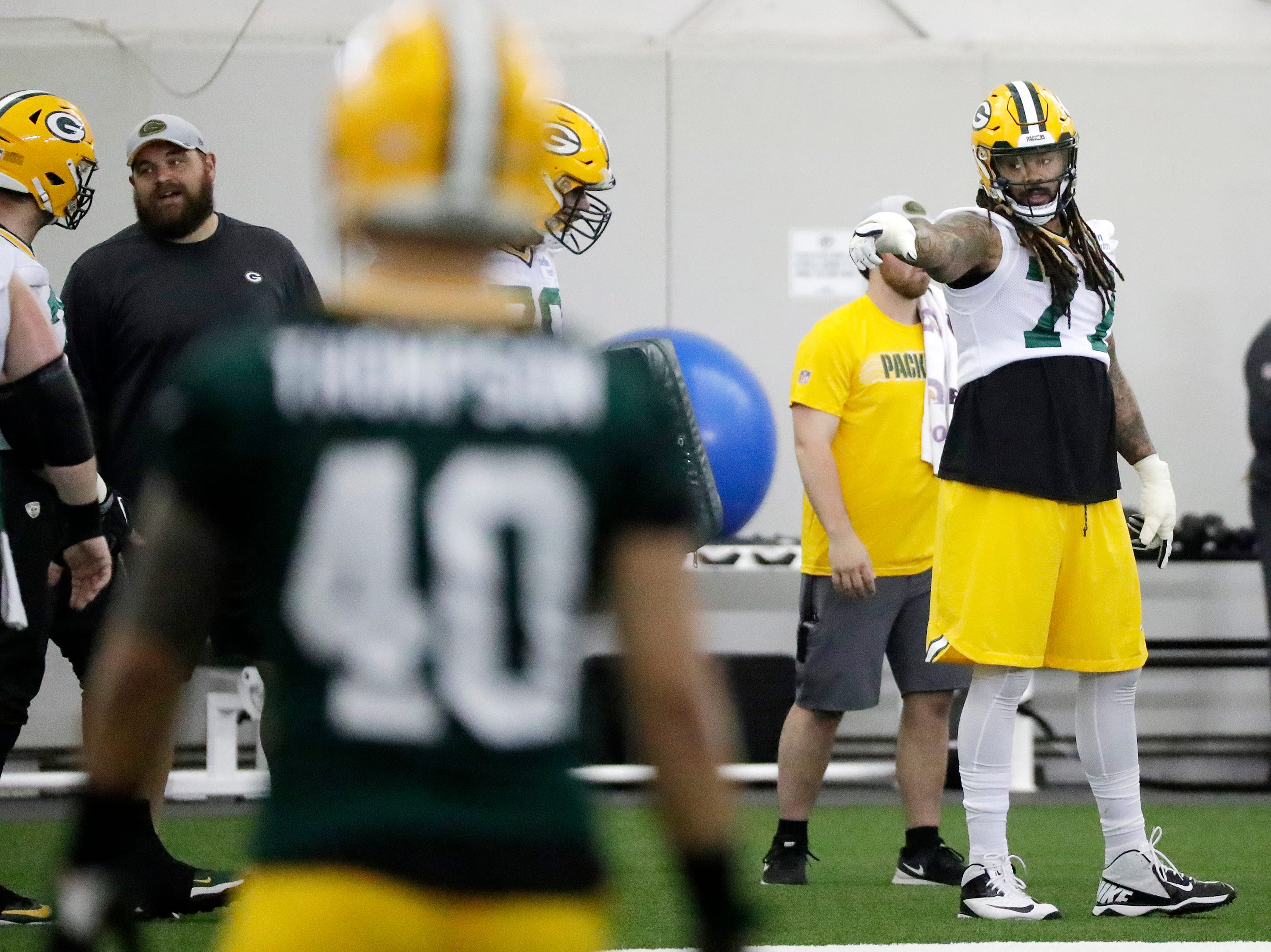 Green Bay Packers offensive tackle Billy Turner (77) during a team practice at the Don Hutson Center on Wednesday, April 24, 2019 in Ashwaubenon, Wis.