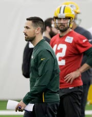 Green Bay Packers head coach Matt LaFleur during a team practice at the Don Hutson Center on Wednesday, April 24, 2019 in Ashwaubenon, Wis.