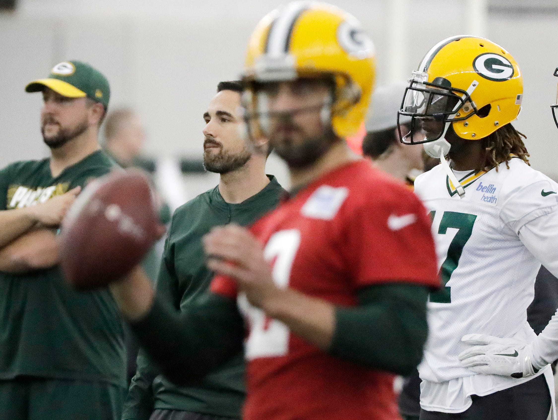 Green Bay Packers head coach Matt LaFleur watches an offensive drill during a team practice at the Don Hutson Center on Wednesday, April 24, 2019 in Ashwaubenon, Wis.