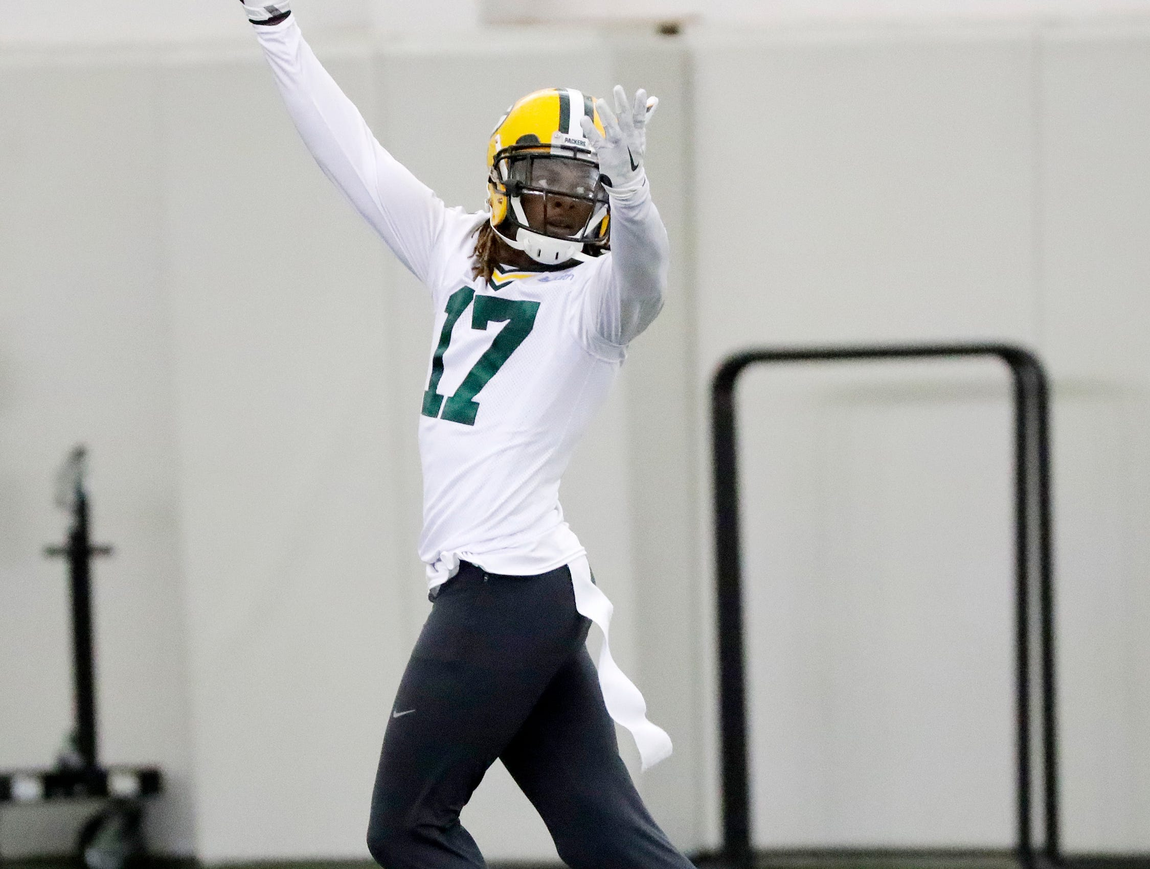 Green Bay Packers wide receiver Davante Adams (17) during a team practice at the Don Hutson Center on Wednesday, April 24, 2019 in Ashwaubenon, Wis.
