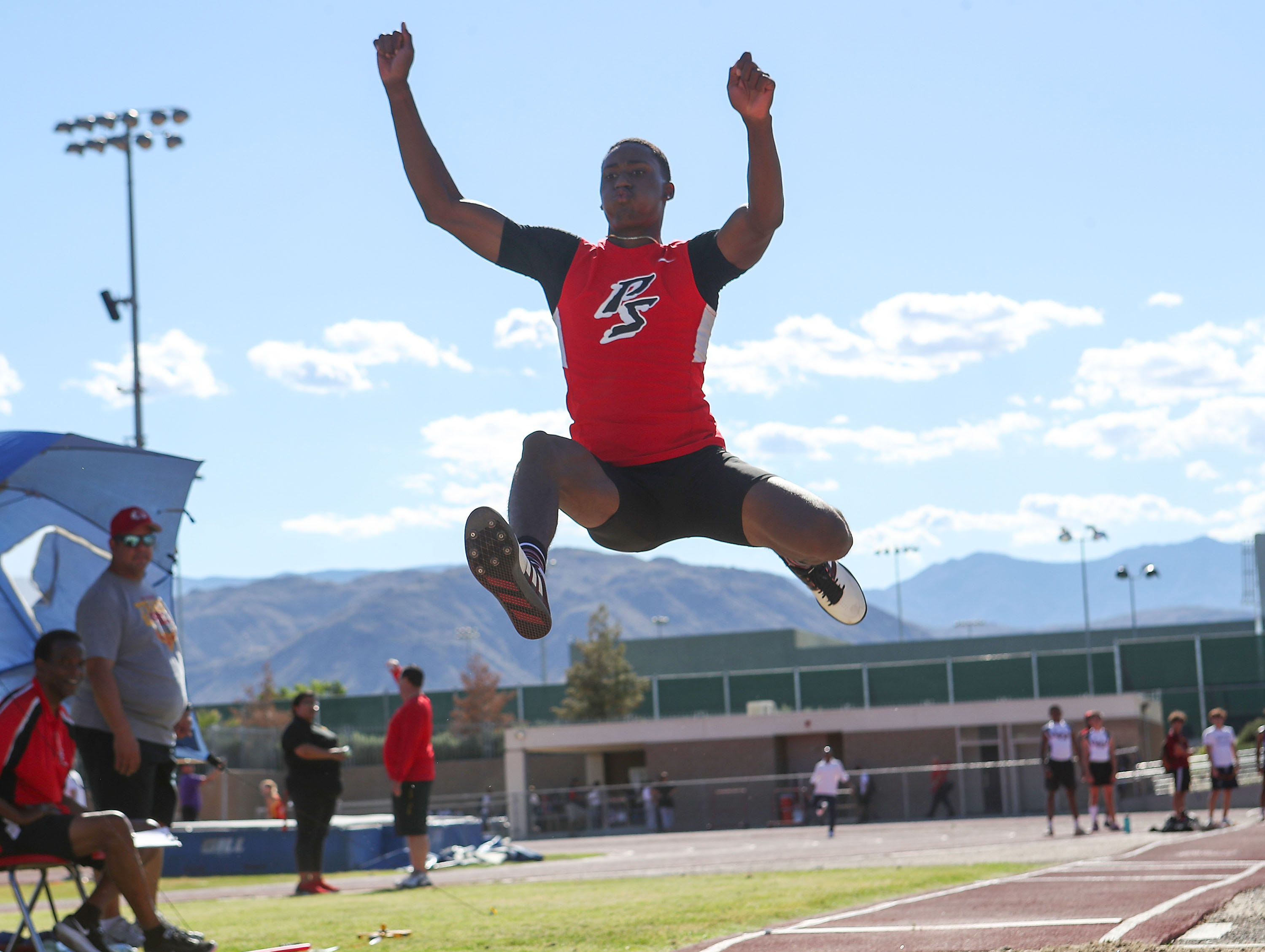 Damion Loman wins the long jump during the Desert Empire League track championships at Palm Desert High School, April 23, 2019.