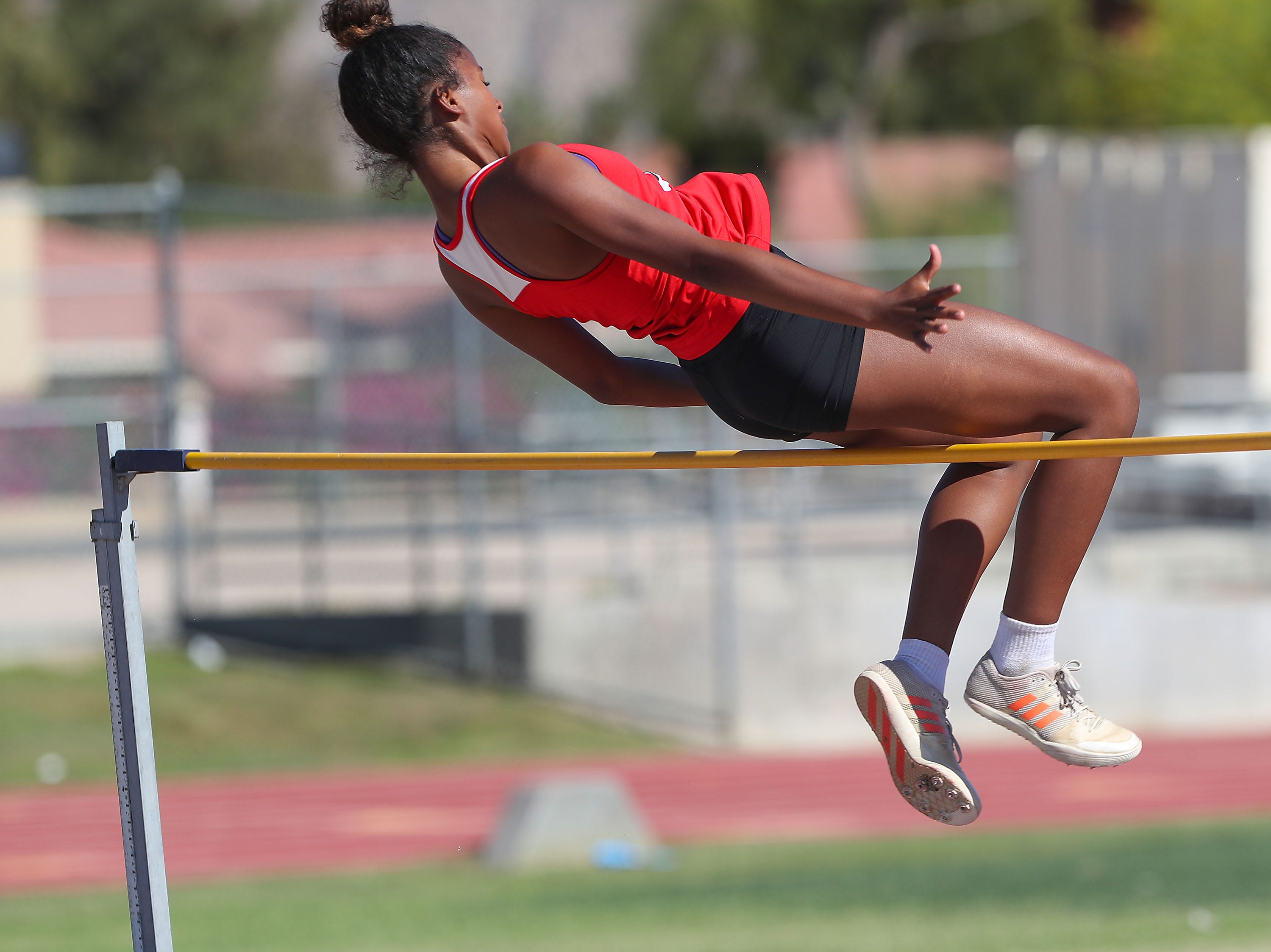 Maricela Wright of Palm Springs wins the high jump during the Desert Empire League track championships at Palm Desert High School, April 23, 2019.