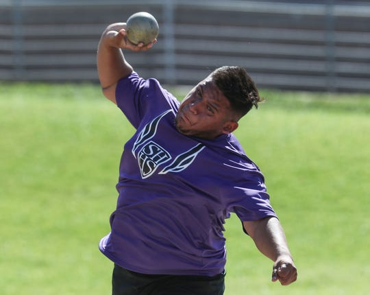 Edward Robles of Shadow Hills wins the shot put during the Desert Empire League track championships at Palm Desert High School, April 23, 2019.