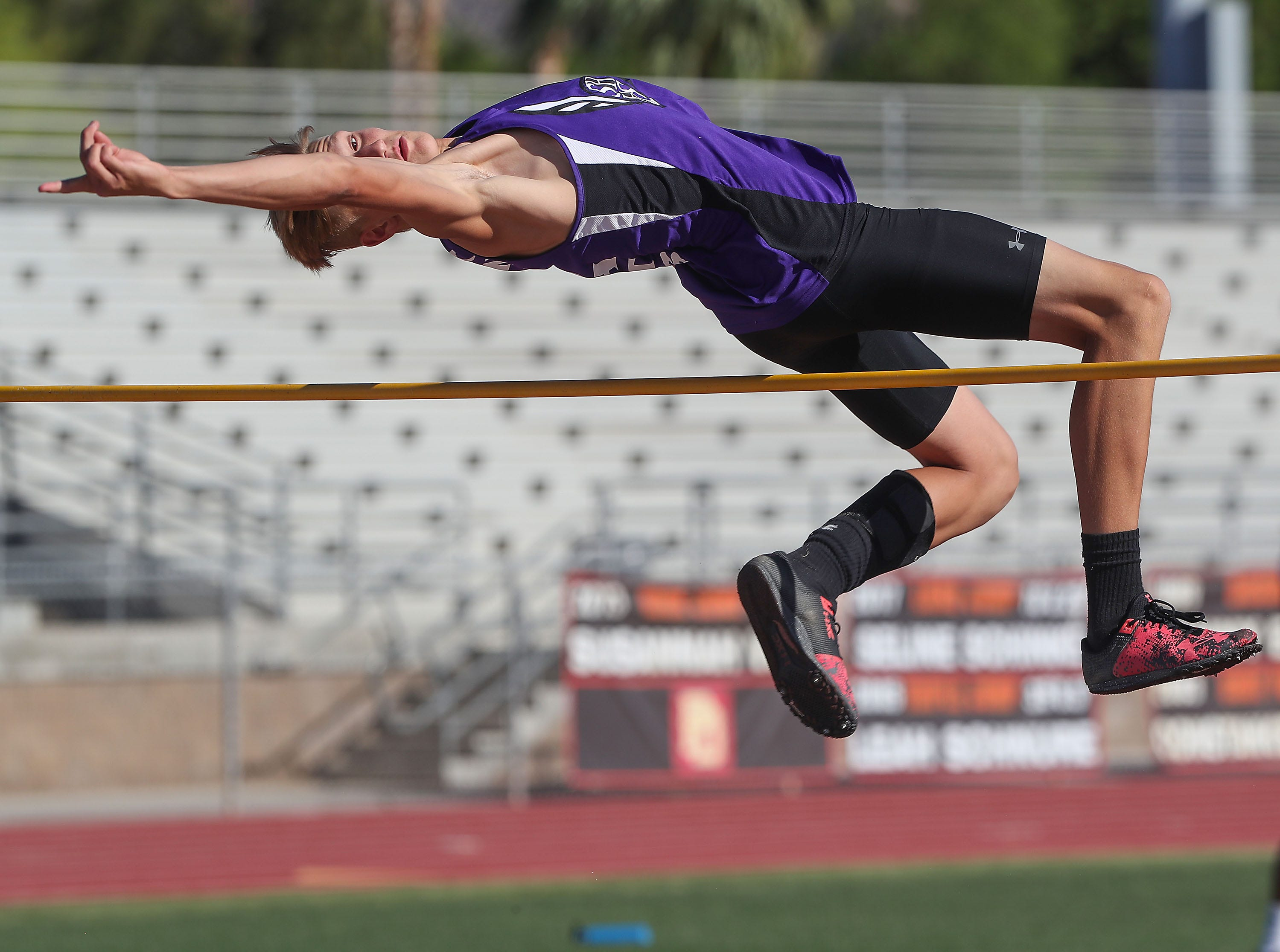 Cord Stansberry wins the high jump during the Desert Empire League track championships at Palm Desert High School, April 23, 2019.