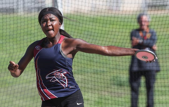 Harmonie Malengo-Kennedy wins the girls discus during the Desert Empire League track championships at Palm Desert High School, April 23, 2019.
