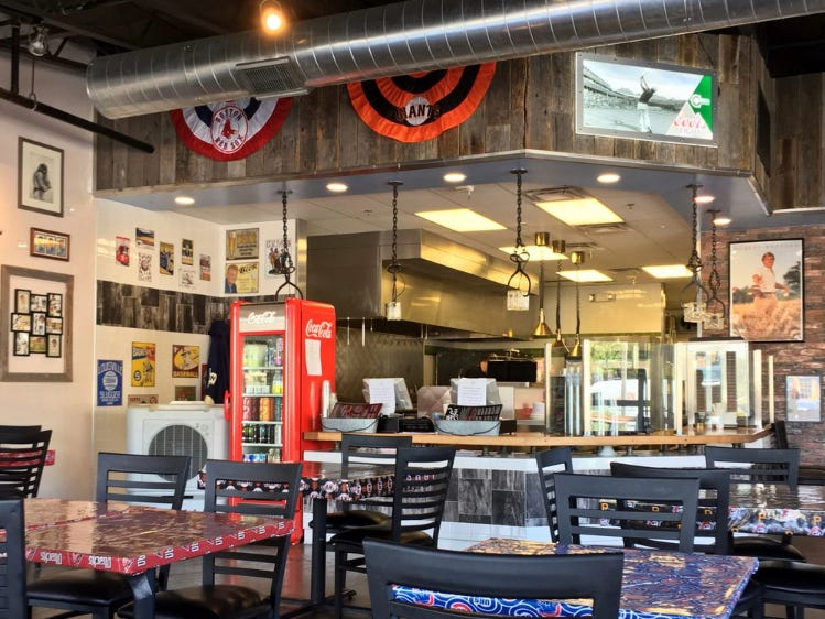Matty G's Steakburgers & Spirits offers fast-casual service with a sports theme that includes memorabilia and sports team table coverings.