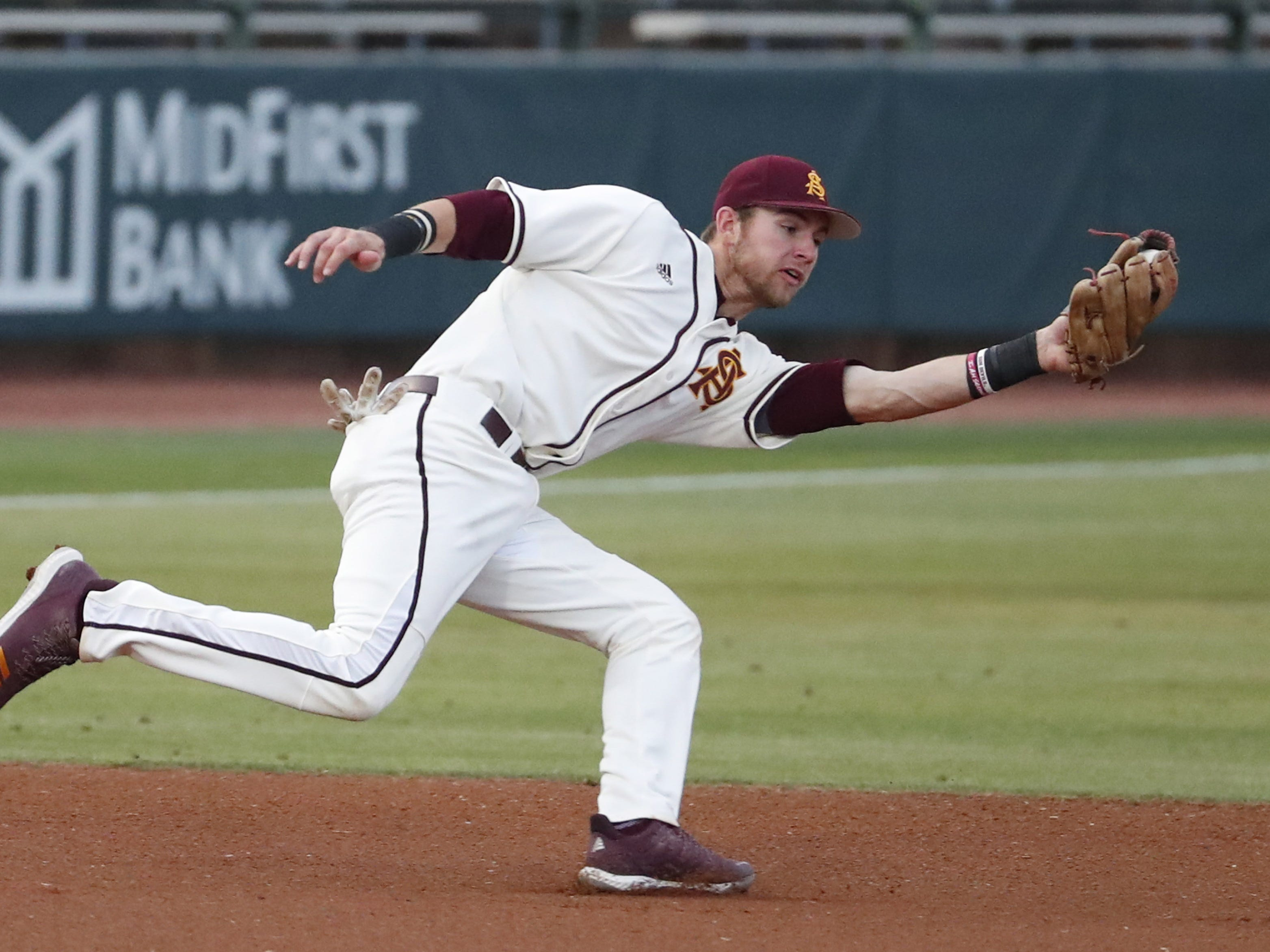 ASU third baseman Gage Workman fields an infield hit against UNLV during the first inning in Phoenix April 23, 2019.