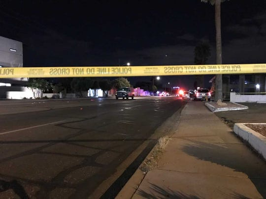 A van hit a pedestrian in a fatal crash on Thomas Road just west of 28th Street, April 23, 2019.