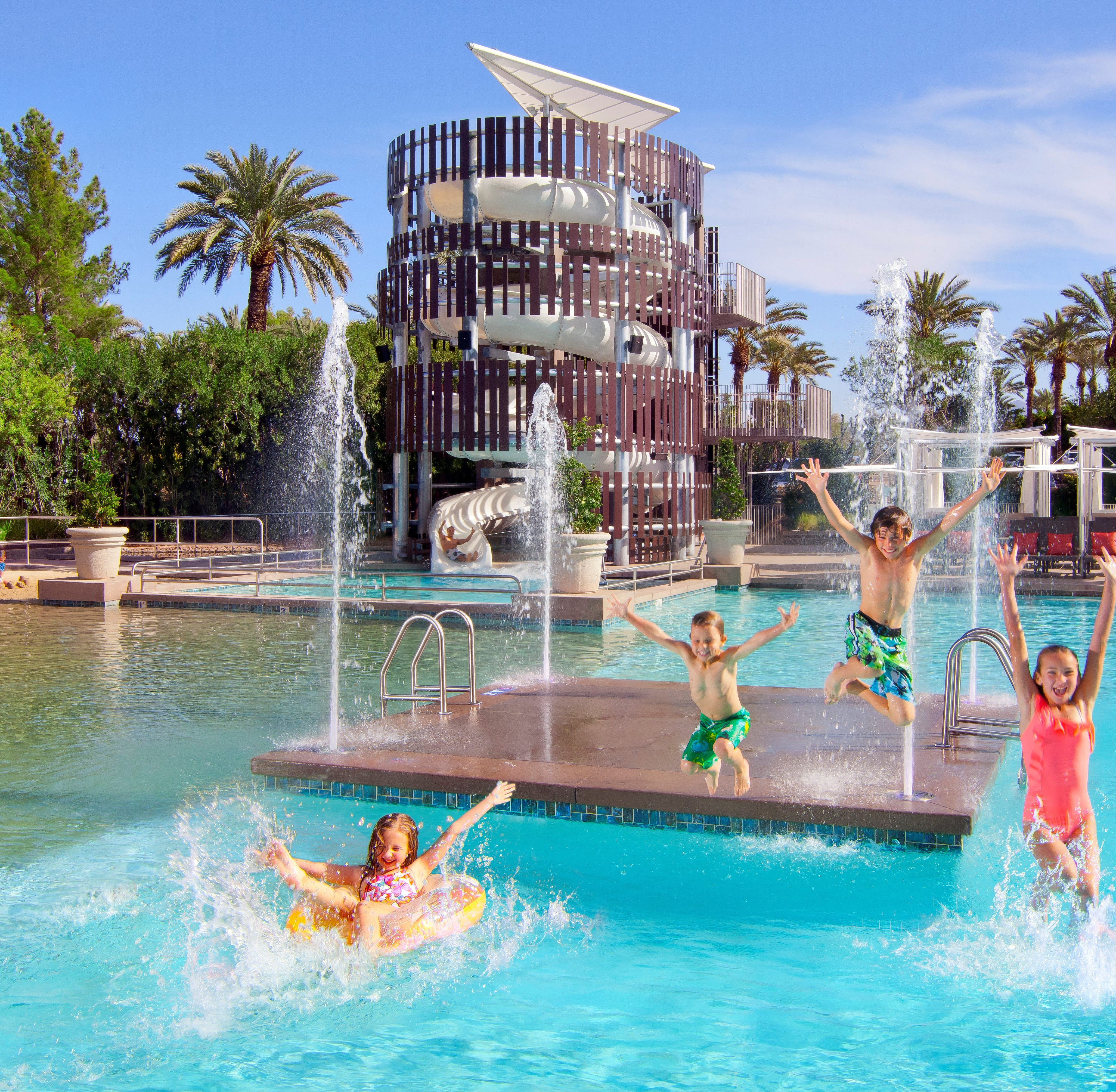 Splash around a 2.5-acre water playground with the whole family!