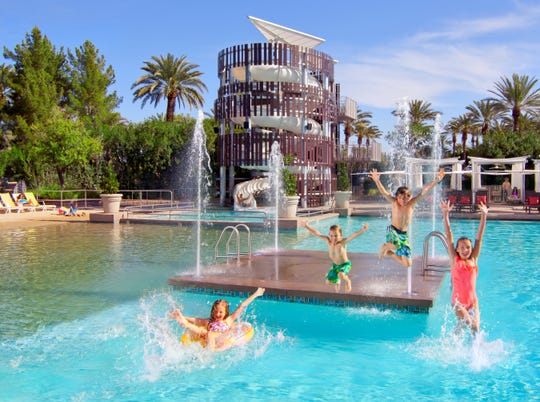 You can splash around a 2.5-acre water playground at Hyatt Regency Scottsdale Resort & Spa at Gainey Ranch. The resort offers day passes through ResortPass.