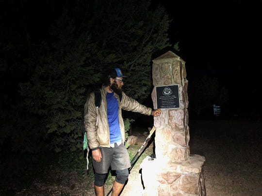 Jeff Garmire at the end of the 800-mile Arizona Trail, which he conquered in a record 15 days, 13 hours and 10 minutes.