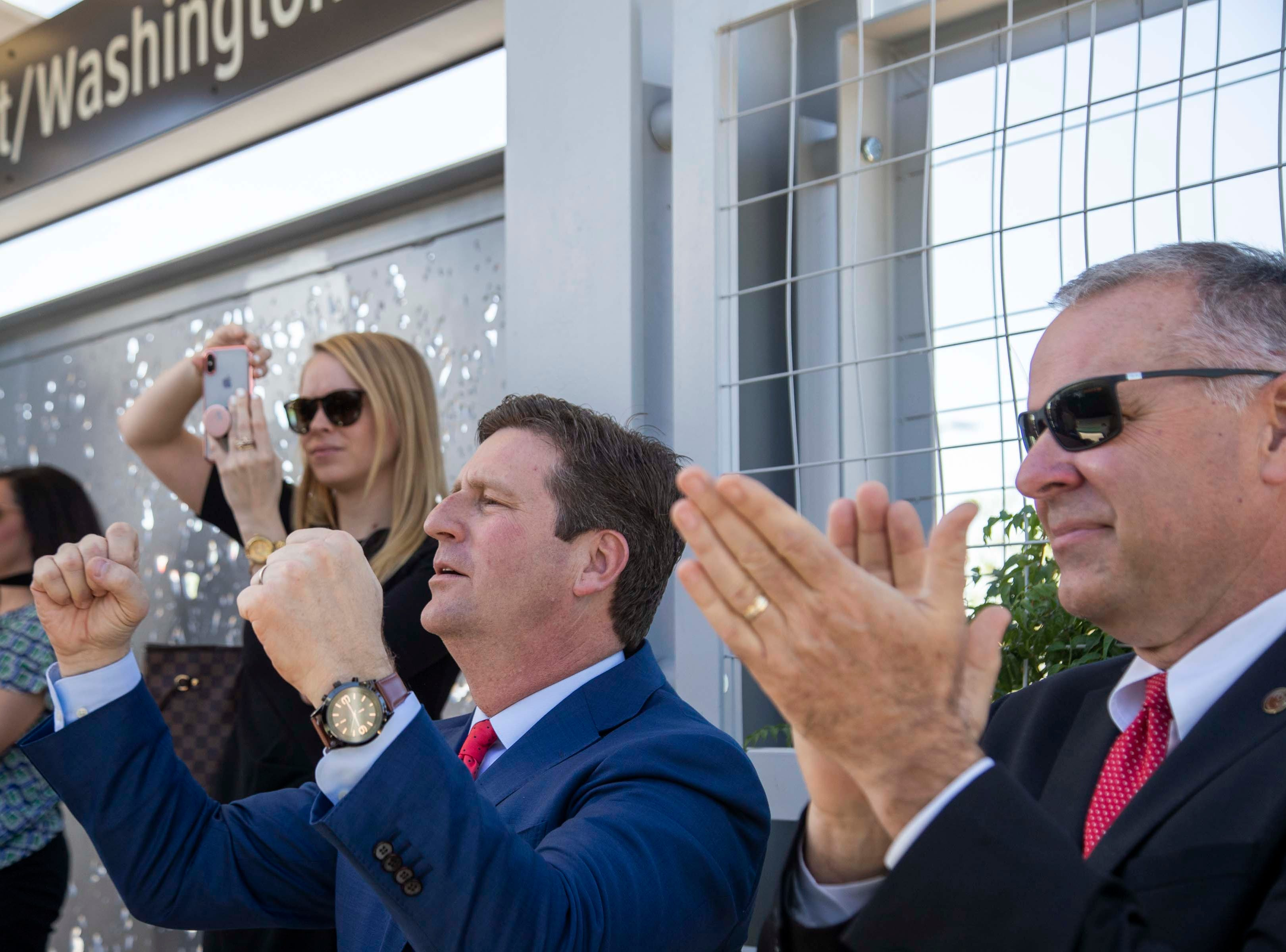Congressman Greg Stanton and others cheer as the light rail arrived at the 50th Street and Washington station, which will provide additional access to Ability 360, one of Arizona's largest disability resource centers.
