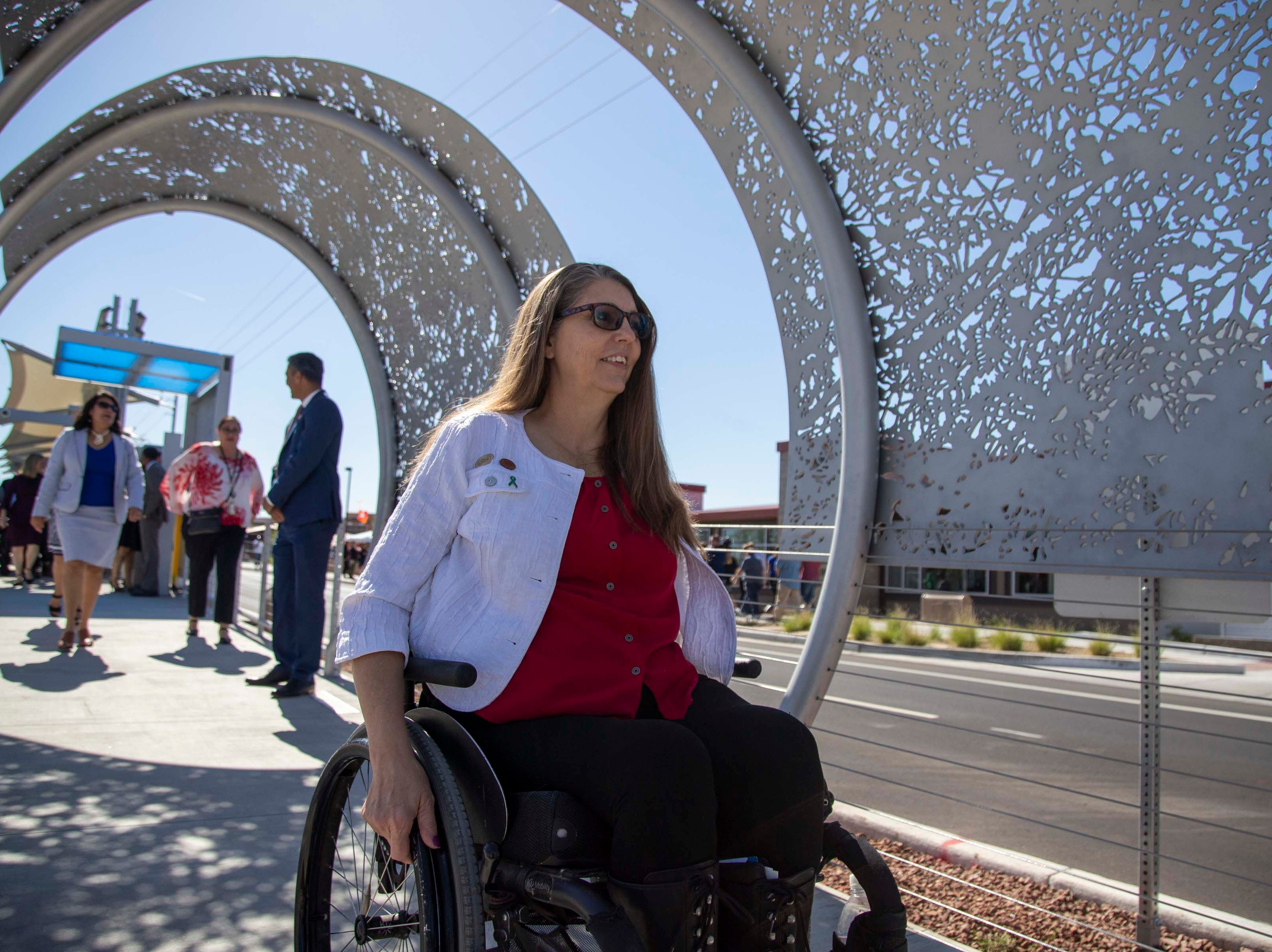 State Rep. Jennifer Longdon, D-Phoenix,  during the unveiling of the new 50th Street and Washington light rail station, which will provide additional access to Ability 360, one of Arizona's largest disability resource centers.