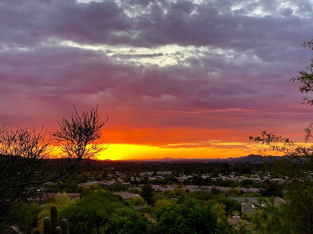 Arizona sunsets heating up with hot summer days.