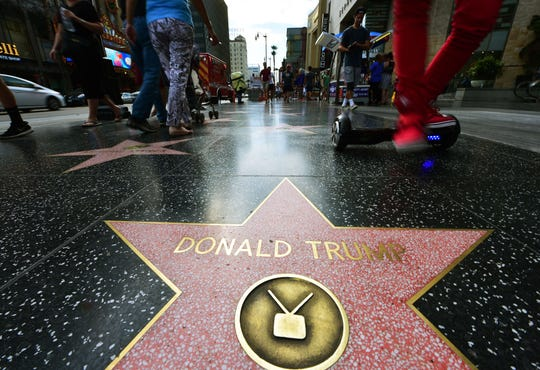 Donald Trump's star on the Hollywood Walk of Fame in seen, September 10, 2015 in Hollywood, California.