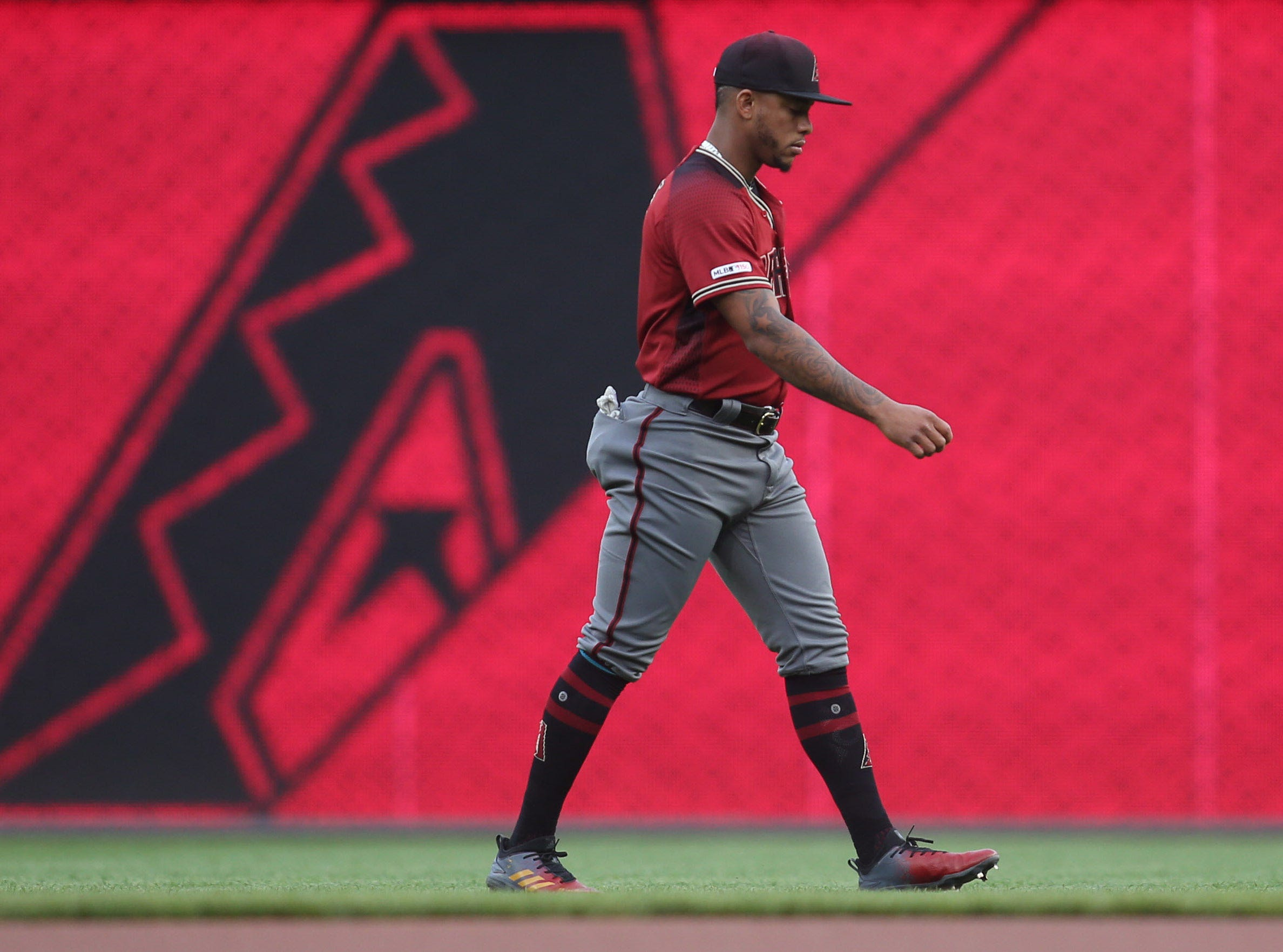 Apr 24, 2019; Pittsburgh, PA, USA; Arizona Diamondbacks centerfielder Ketel Marte (4) warms up in the outfield before playing the Pittsburgh Pirates at PNC Park. Mandatory Credit: Charles LeClaire-USA TODAY Sports