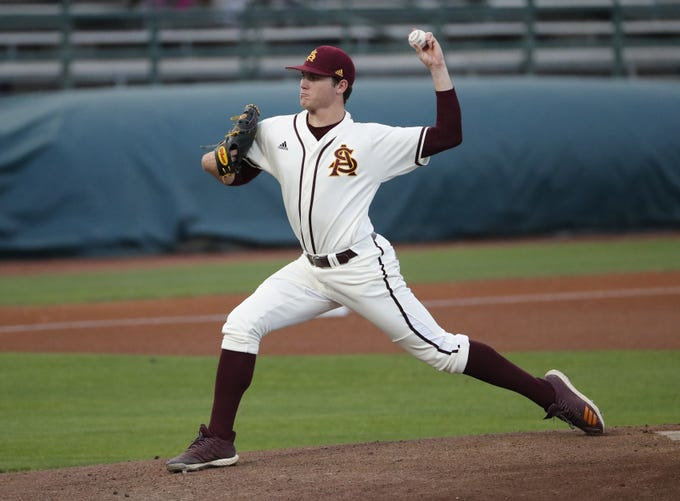 ASU pitcher Erik Tolman throws against UNLV during the first inning in Phoenix April 23, 2019.