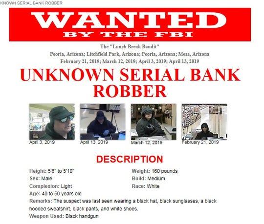 "The FBI is seeking help in identifying a serial armed bank robber known as the ""lunch break bandit."""