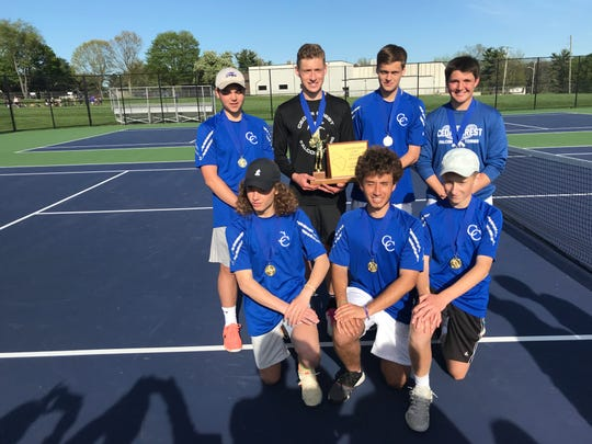 The Cedar Crest boys tennis team poses with the Lancaster-Lebanon League championship trophy after Wednesday's 3-2 win over Pequea Valley in the title match at Ephrata. The Falcons are, front row, from left, Enzo Emerich, Bruno Schaevolin, Garrett Muraika. Back row, Justin Hilty, Jack Muraika, Adam Brightbill and Dylan Tull.