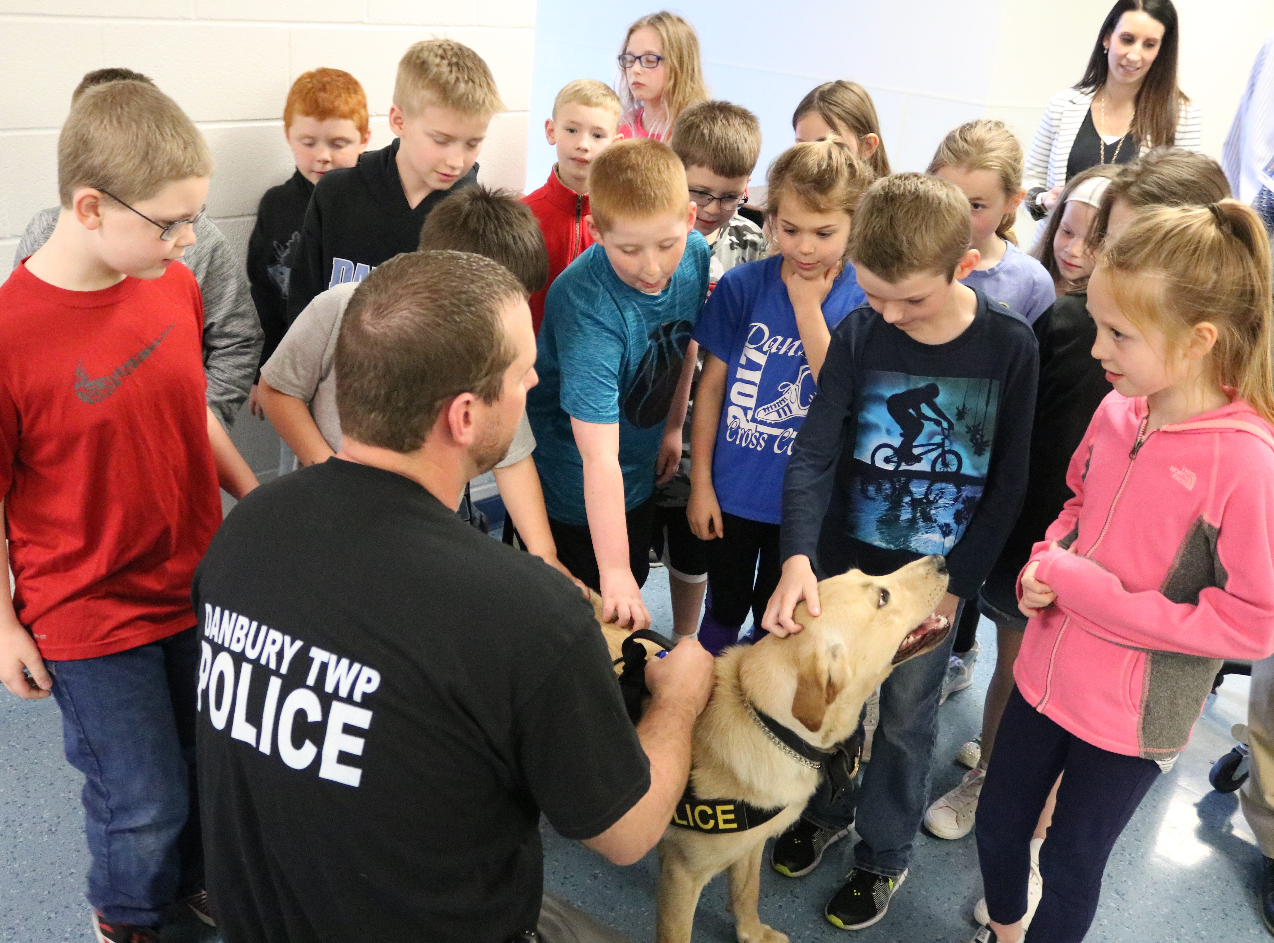 K-9 Kalahan, the newest officer at the Danbury Township Police Department, met local students at Danbury Local Schools on Tuesday.